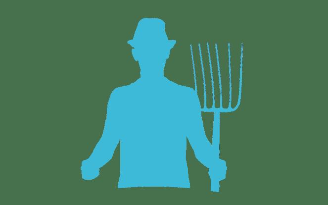 Bauer mit Heugabel zur Illustration des Mythos, dass Tierschutz den Arbeitsplätzen in der Landwirtschaft schaden würde