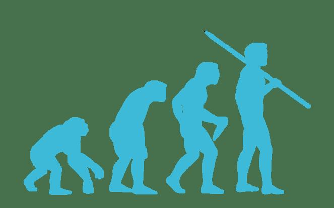 Evolution vom Affen zum Menschen zur Illustration des Mythos, dass wir ohne Fleischessen noch auf den Bäumen säßen