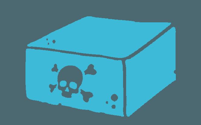 Tofublock mit Totenkopfsymbol zur Illustration des Vegan-Mythos, dass für Tofu der Regenwald abgeholzt wird