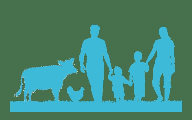 Familie mit einem Kalb und einem Huhn zur Illustration des Mythos, dass für Milch und Eier keine Tiere sterben