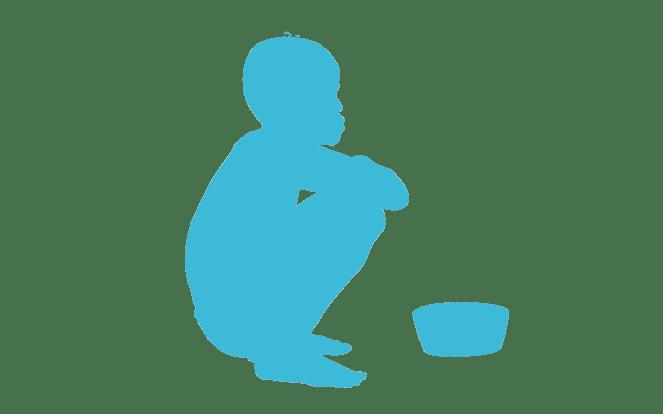 Afrikanisches Kind vor einer leeren Schüssel zur Illustration der Aussage, dass die Kinder in Afrika froh wären, wenn sie Fleisch hätten