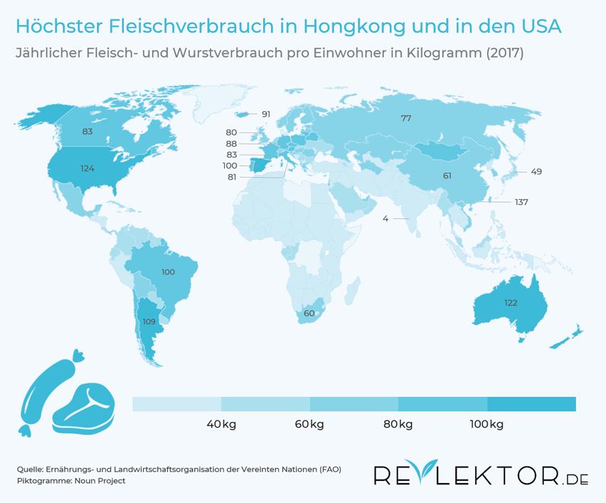Infografik, die zeigt, dass der Fleischkonsum in Hongkong, in den USA und in Australien am höchsten und in Indien am niedrigsten ist