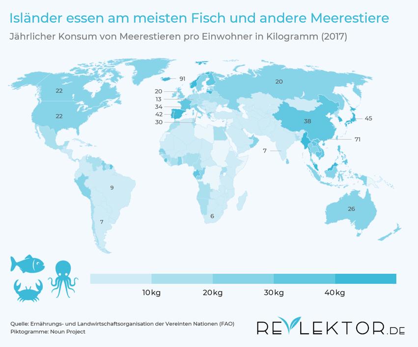 Infografik, die auf einer Weltkarte zeigt, dass der Fischkonsum in Island am höchsten und in Afghanistan am niedrigsten ist