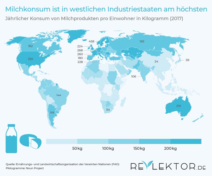 Infografik, die zeigt, dass der Milchkonsum in Finnland am größten ist und dass asiatische und afrikanische Länder kaum Milchprodukte essen