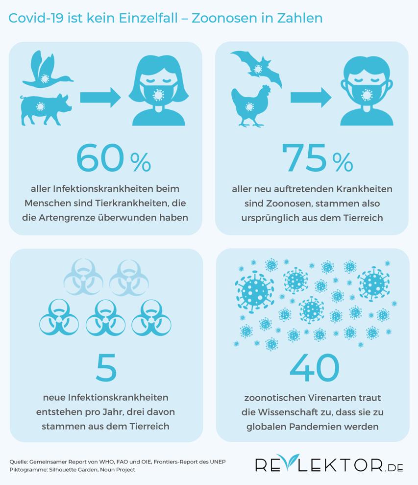 Infografik, die zeigt, dass drei von vier neuen Infektionskrankheiten von Tieren stammen