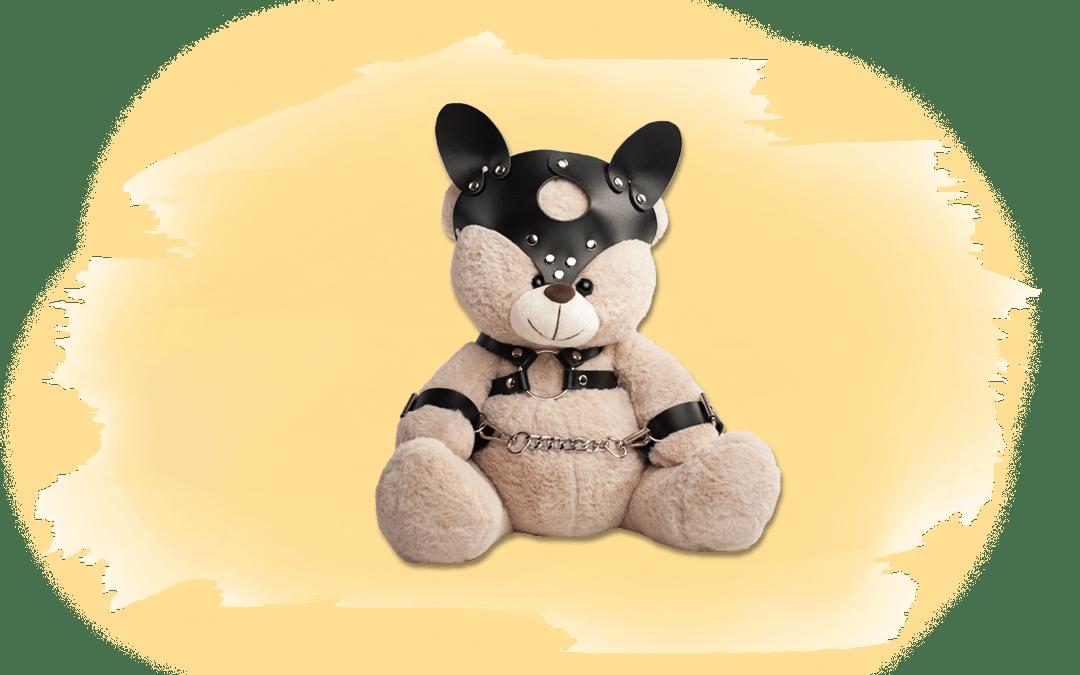 Teddybär in BDSM-Kluft als Titelbild für Artikel über grausame Werkzeuge in der Tierhaltung