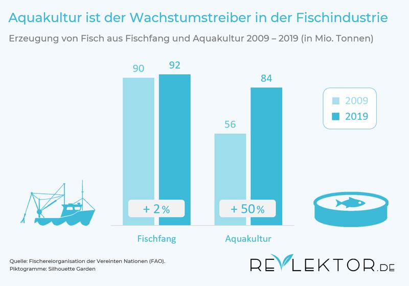 Infografik: Aus Aquakultur stammt inzwischen fast so viel Fisch wie aus dem Fischfang
