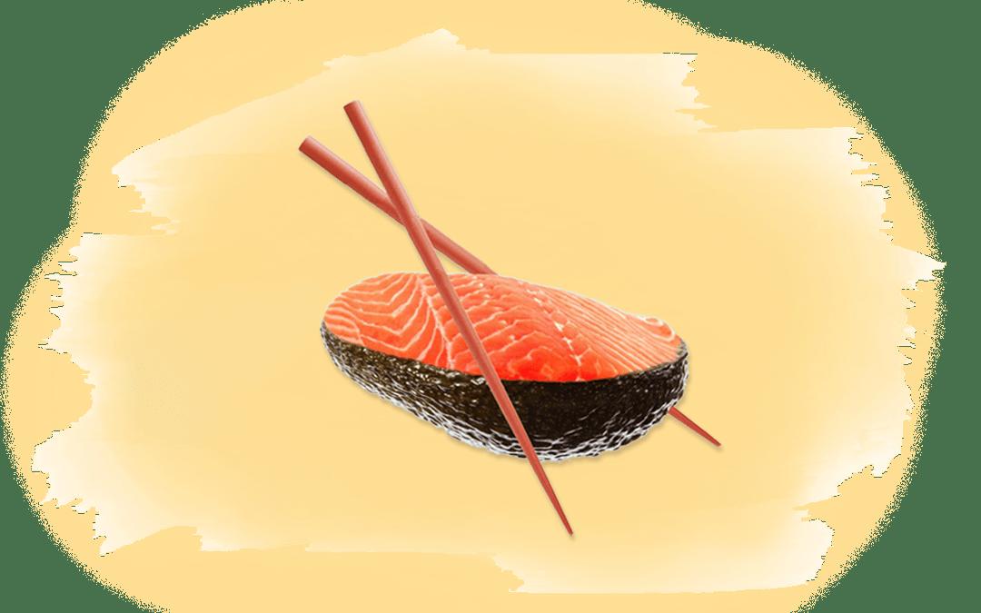 Lachs in Avocado als Titelbild für Artikel über industrielle Lachszucht