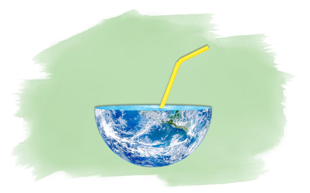 Halbe Weltkugel mit Strohhalm als Titelbild für Artikel über Plastikmüll in den Ozeanen
