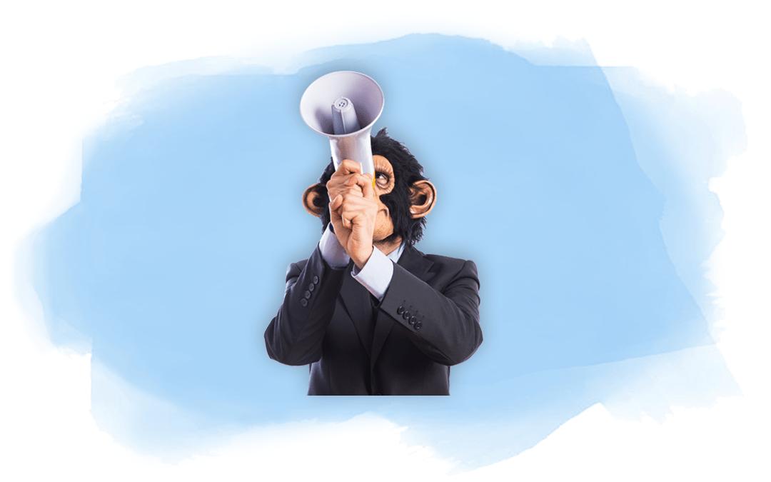 Affe mit Megaphon als Titelbild für Artikel über speziesistische Sprache