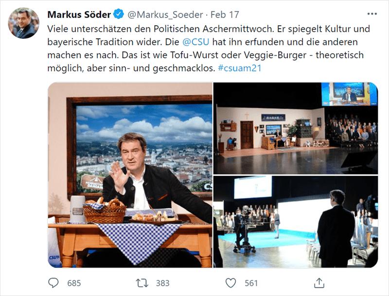 Tweet von Markus Söder zum Politischen Aschermittwoch