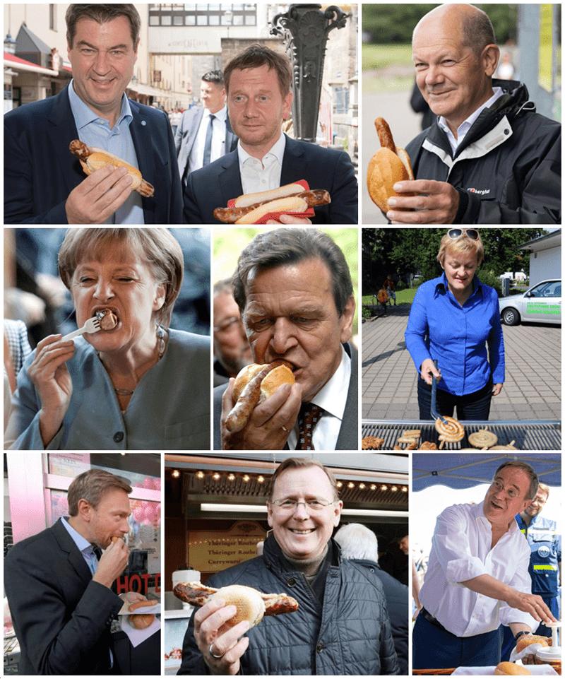 Bilder von Politikern mit Wurst im Wahlkampf