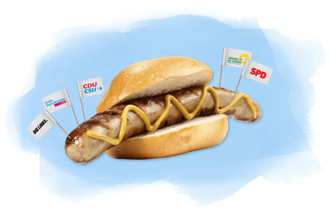Bratwurst mit Parteifahnen als Illustration für Beitrag über Würste im Wahlkampf